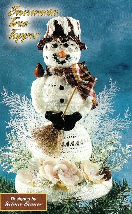 Y523 Crochet PATTERN ONLY Frosty Snowman Christmas Tree Topper Pattern
