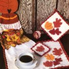 Y479 Crochet PATTERN ONLY Autumn Leaves Dining Set Placemat Coaster Pot Holder
