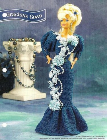 Y673 Crochet PATTERN ONLY Fashion Doll Gracious Gown Barbie Pattern