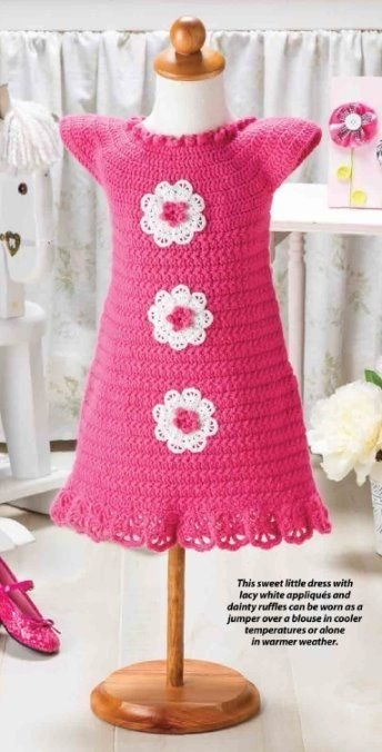W342 Crochet PATTERN ONLY Touch of Lace Baby Dress Pattern