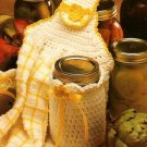 Y787 Crochet PATTERN ONLY Sunshine Kitchen Set Towel Topper Jar Cover Patterns