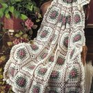 Y220 Crochet PATTERN ONLY Lacy Popcorn Granny Square Afghan Pattern