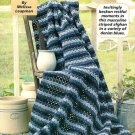 Y163 Crochet PATTERN ONLY Denim Stripes Afghan
