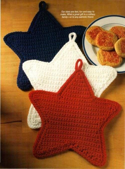 X660 Crochet PATTERN ONLY Patriotic Stars Pot Holder Potholders