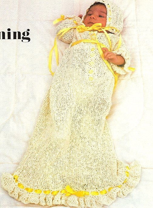 X580 Knit PATTERN ONLY Baby Christening Gown & Cap Pattern