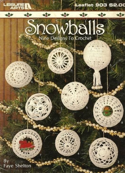 Y033 Crochet PATTERN Book ONLY 9 Crochet Snowballs Christmas Ornament Hollow 3-D