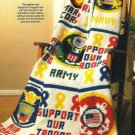 X481 Crochet PATTERN ONLY A Solute To Our Soldiers Military Afghan Pattern