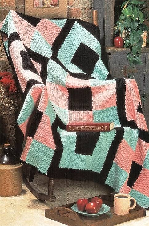 Y573 Crochet PATTERN ONLY Contemporary Blocks Afghan Pattern