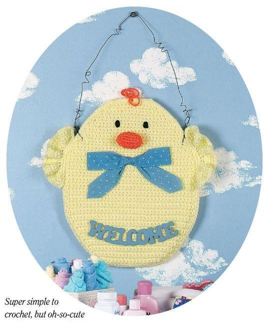 Y855 Crochet PATTERN ONLY Baby Duck Welcome Wall Hanging Pattern