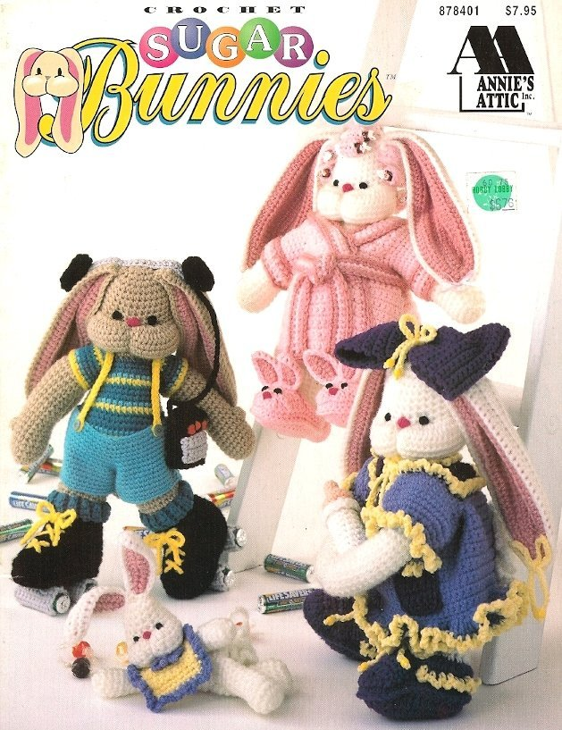 Y055 Crochet PATTERN Book ONLY Sugar Bunnies 7 Rabbit & Clothes Dolls Toys
