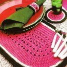 Y511 Crochet PATTERN ONLY Watermelon Place Mat Coaster & Napkin Ring Set