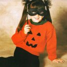 X796 Knit PATTERN ONLY Childs Pumpkin Jack-o-lantern Pullover Sweater