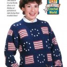 Y998 Crochet PATTERN ONLY Ladies Stars & Stripes Pullover Sweater Pattern