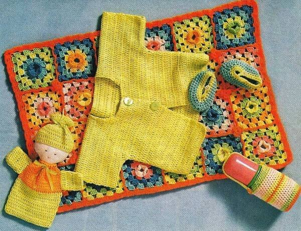 X969 Crochet PATTERN ONLY Baby on the Go Blanket Sweater Doll Bottle Cover