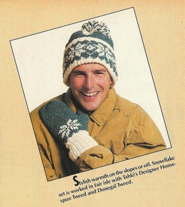 X832 Knit PATTERN ONLY Fair Isle Snowflake Stocking Cap & Mittens