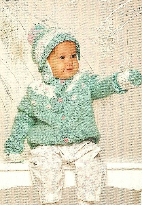 Y980 Knit PATTERN ONLY Knit Baby's Rosebud Sweater & Hat Set Patterns
