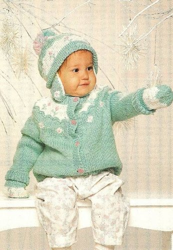 Y980 Knit PATTERN ONLY Knit Baby's Rosebud Sweater & Hat Set Patterns