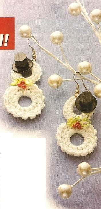 X816 Crochet PATTERN ONLY Snowman Earrings Pattern