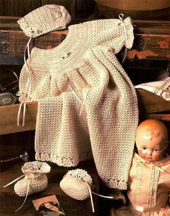Y990 Crochet PATTERN ONLY Heirloom Christening Set Gown Bonnet Booties