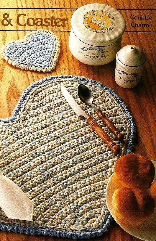 X873 Crochet PATTERN ONLY Heart Placemat & Coaster Set