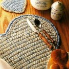 X873 Crochet PATTERN ONLY Heart Placemat & Coaster Set