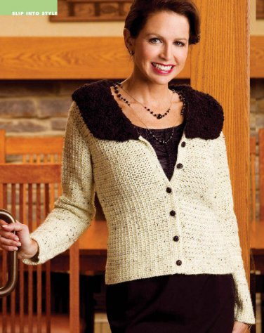 W029 Crochet PATTERN ONLY Dressed for Success Cardigan Faux Fur Collar Pattern