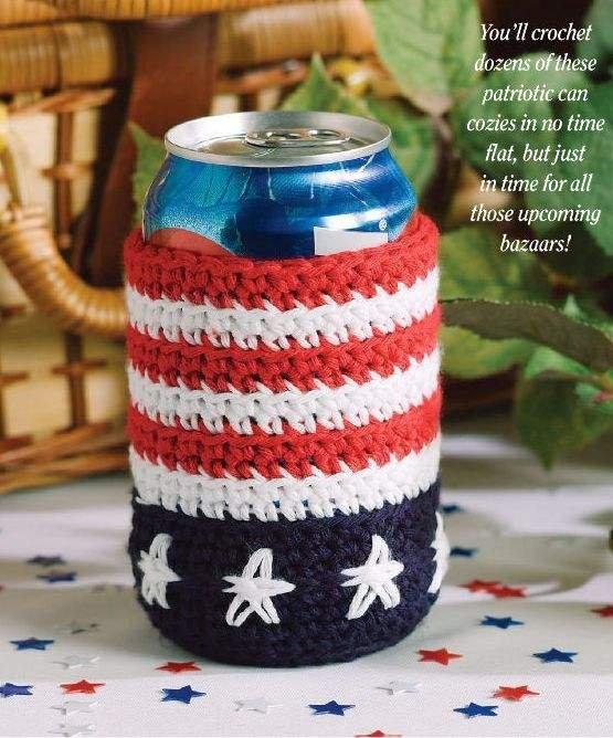 W069 Crochet PATTERN ONLY Liberty Soda Can Cozie Pattern USA Patriotic Picnic