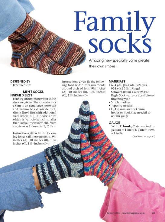 W159 Crochet PATTERN ONLY Family of Socks Mom Dad Children Patterns