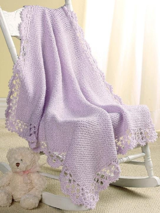 W178 Crochet PATTERN ONLY Lavender Lace Baby Afghan Pattern