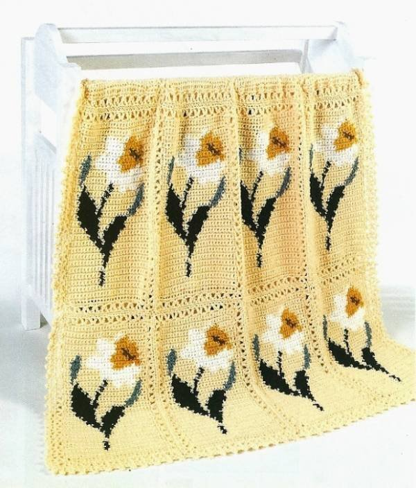 X041 Crochet PATTERN ONLY Delightful Daffodil Flower Afghan Pattern