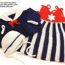 X073 Crochet PATTERN ONLY Baby Nautical Dress Hat & Sweater Set Pattern