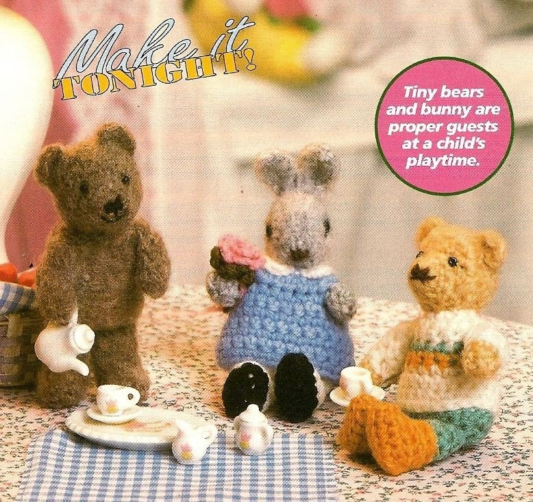 Y967 Crochet PATTERN ONLY Tea Party Miniature Tiny Bears and Bunny Rabbit Dolls