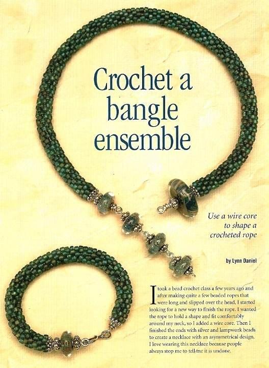 Y793 Beaded PATTERN ONLY Crochet a Bangle Ensemble Necklace Bracelet Pattern