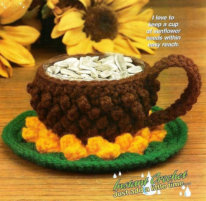 Y738 Crochet PATTERN ONLY Miniature Sunflower Cup and Saucer Candy Dish Pattern