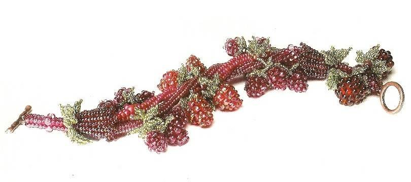 Y547 Bead PATTERN ONLY Beaded Berry Season Bracelet Pattern Raspberry Blackberry