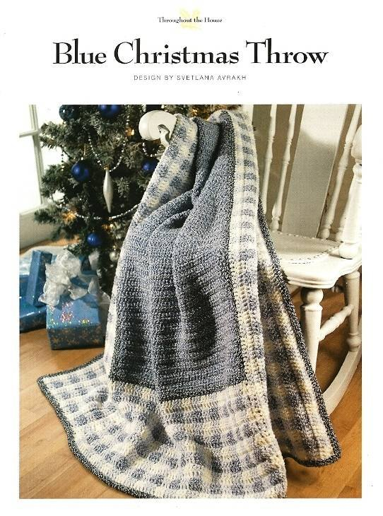 Y401 Crochet PATTERN ONLY Blue Christmas Gingham Throw Afghan Pattern