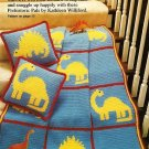 Y280 Crochet PATTERN ONLY Dinosaur Afghan & Pillow plus Football Caddy Patterns