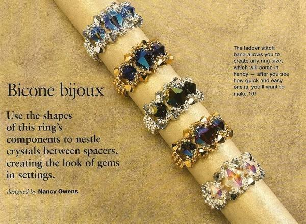 Y267 Bead PATTERN ONLY Beaded Bicone Bijoux Ring Pattern RAW and Ladder Stitch