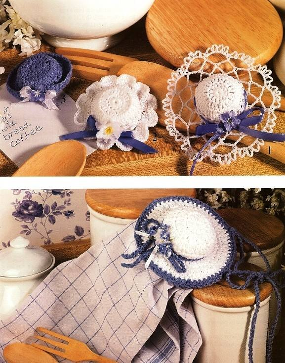 Y214 Crochet PATTERN ONLY 4 Hat Magnet or Ornament Patterns