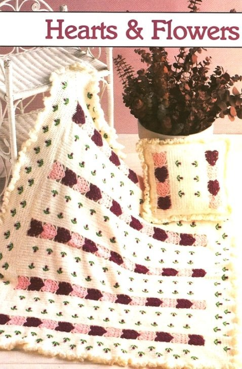 Y194 Crochet PATTERN ONLY Hearts & Flowers Afghan & Pillow Set