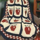 X965 Crochet PATTERN ONLY Red Delicious Apple Afghan