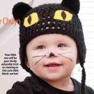 Y809 Crochet PATTERN ONLY Halloween Kitty Baby Hat Cap Pattern