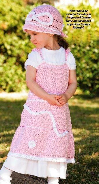 X475 Crochet PATTERN ONLY Child�s Vintage Look Hat & Sun Dress Pattern