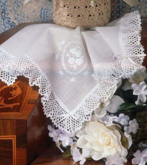 W067 Crochet PATTERN ONLY Lacy Bridal Hankie Edging Pattern Wedding