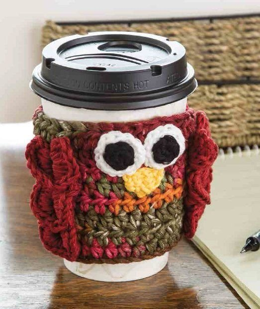 W332 Crochet PATTERN ONLY Owl Hot To Go Cup Holder Pattern