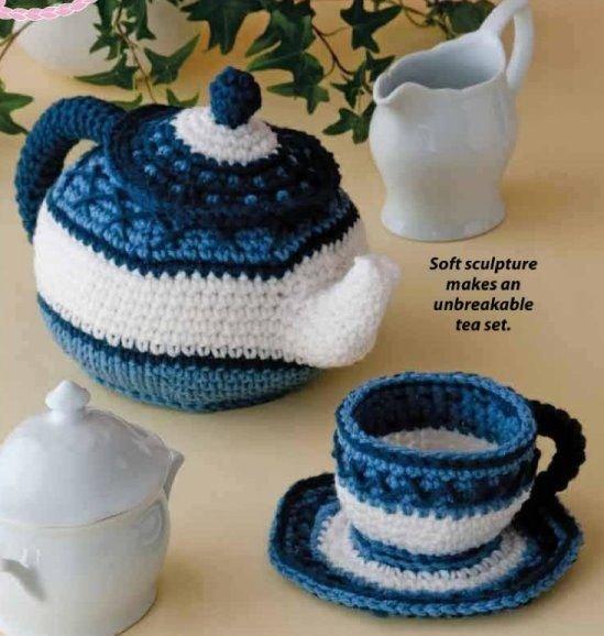 W327 Crochet PATTERN ONLY Pretty Little Tea Set Cup Saucer and Teapot Patterns