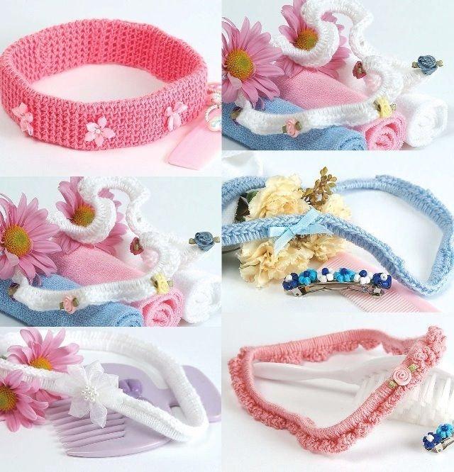 W363 Crochet PATTERN ONLY Set of 5 Little Lady Baby Headbands Pattern