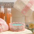 W326 Crochet PATTERN ONLY Floral Bathroom Gift Set Sachet Bowl Edging Patterns