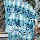 X879 Crochet PATTERN ONLY Let It Snow Afghan Pattern Snowman