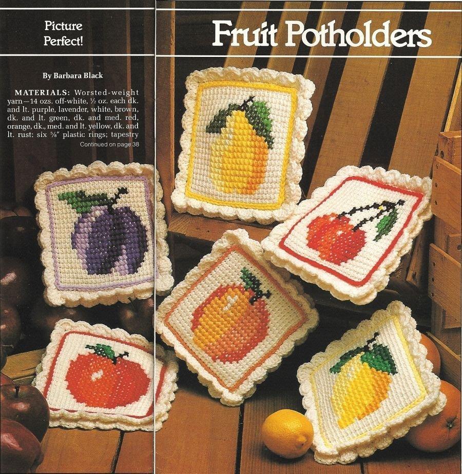 X336 Crochet PATTERN ONLY 6 Fruit Potholder Pattern